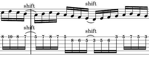 C major shift down