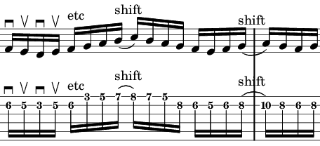 C major shift up
