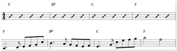 THUMB melody over chords
