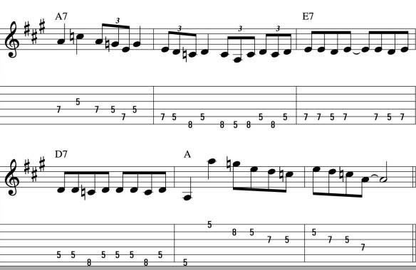 Ví dụ mẫu áp dụng solo pentatonic vào vòng hợp âm Trưởng, Thứ và Blues