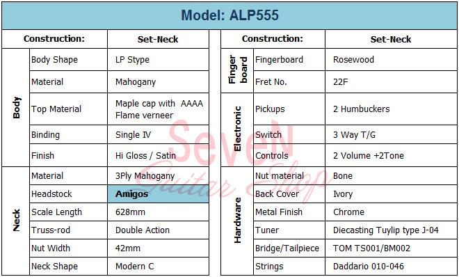 Specification - Amigos Guitar model ALP555